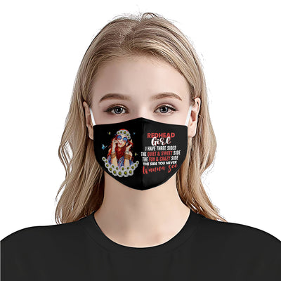 Redhead Girl I Have Three Sides EZ03 1905 Face Mask - Hyperfavor