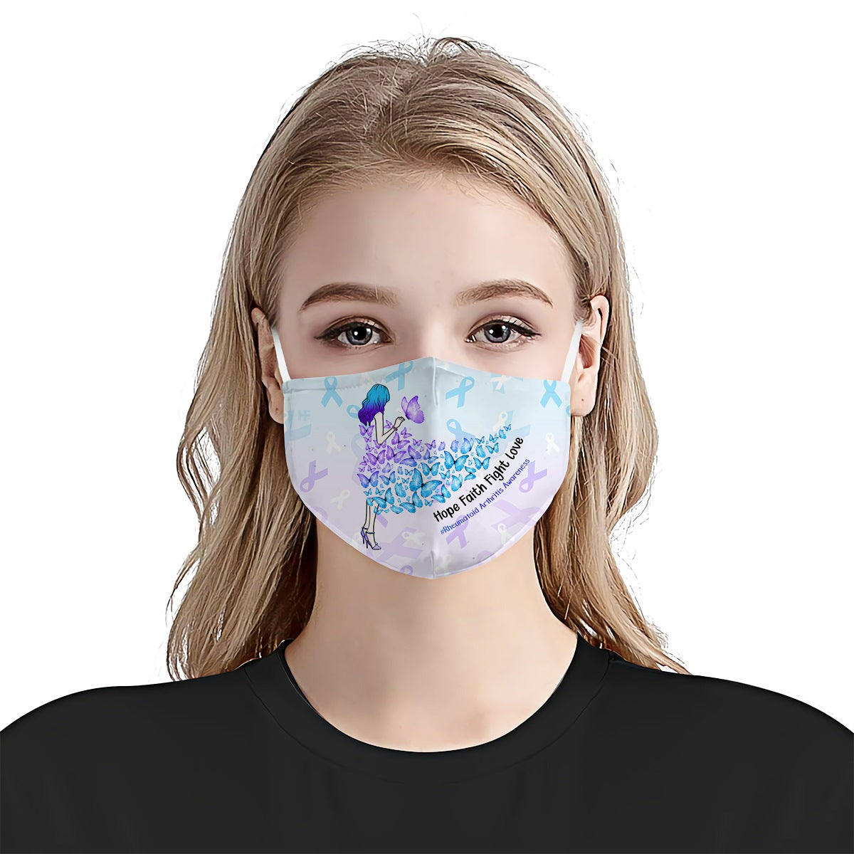 Rheumatoid Arthritis Awareness Girl In Buffterfly Dress EZ01 2704 Face Mask - Hyperfavor