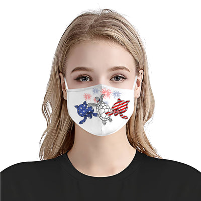 Sea Turtle 4th Of July EZ01 1405 Face Mask - Hyperfavor