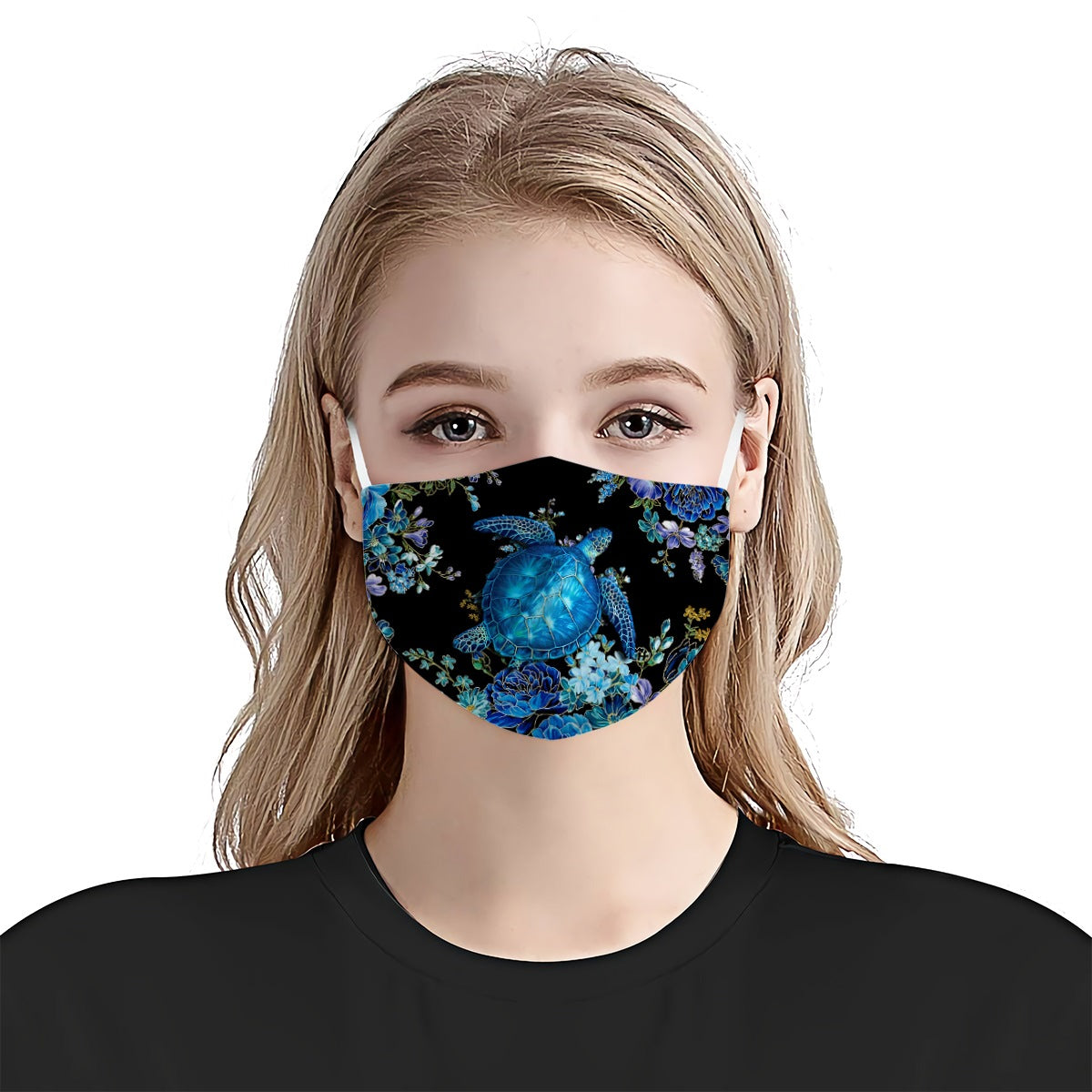 Sea Turtle Echanted Floral EZ01 EZ01 0705 Face Mask - Hyperfavor