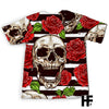 Skull And Red Roses On Striped EZ06 1303 All Over T-Shirt - Hyperfavor