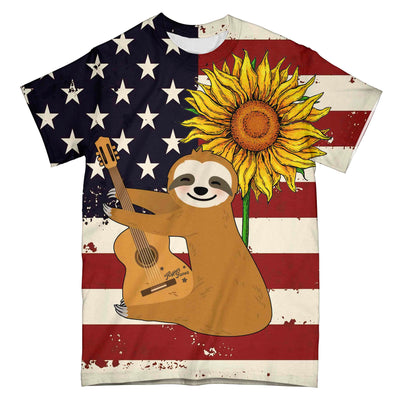 Sloth Guitar American Flag EZ10 0304 All Over T-Shirt - Hyperfavor