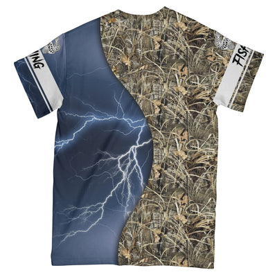Snakehead Fishing Blue Camo EZ09 1408 All Over T-Shirt - Hyperfavor