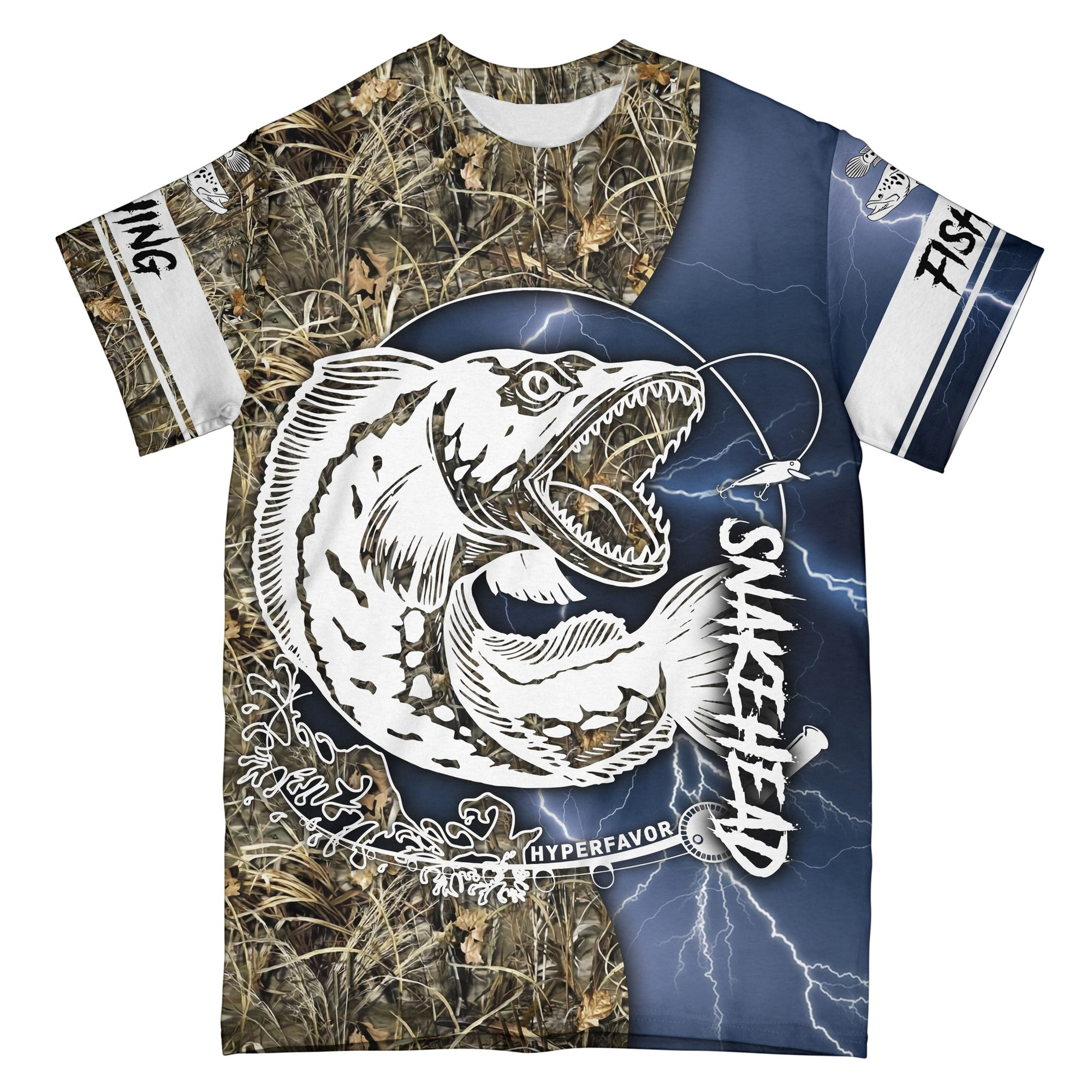 Snakehead Fishing Blue Camo EZ09 1408 All Over T-Shirt
