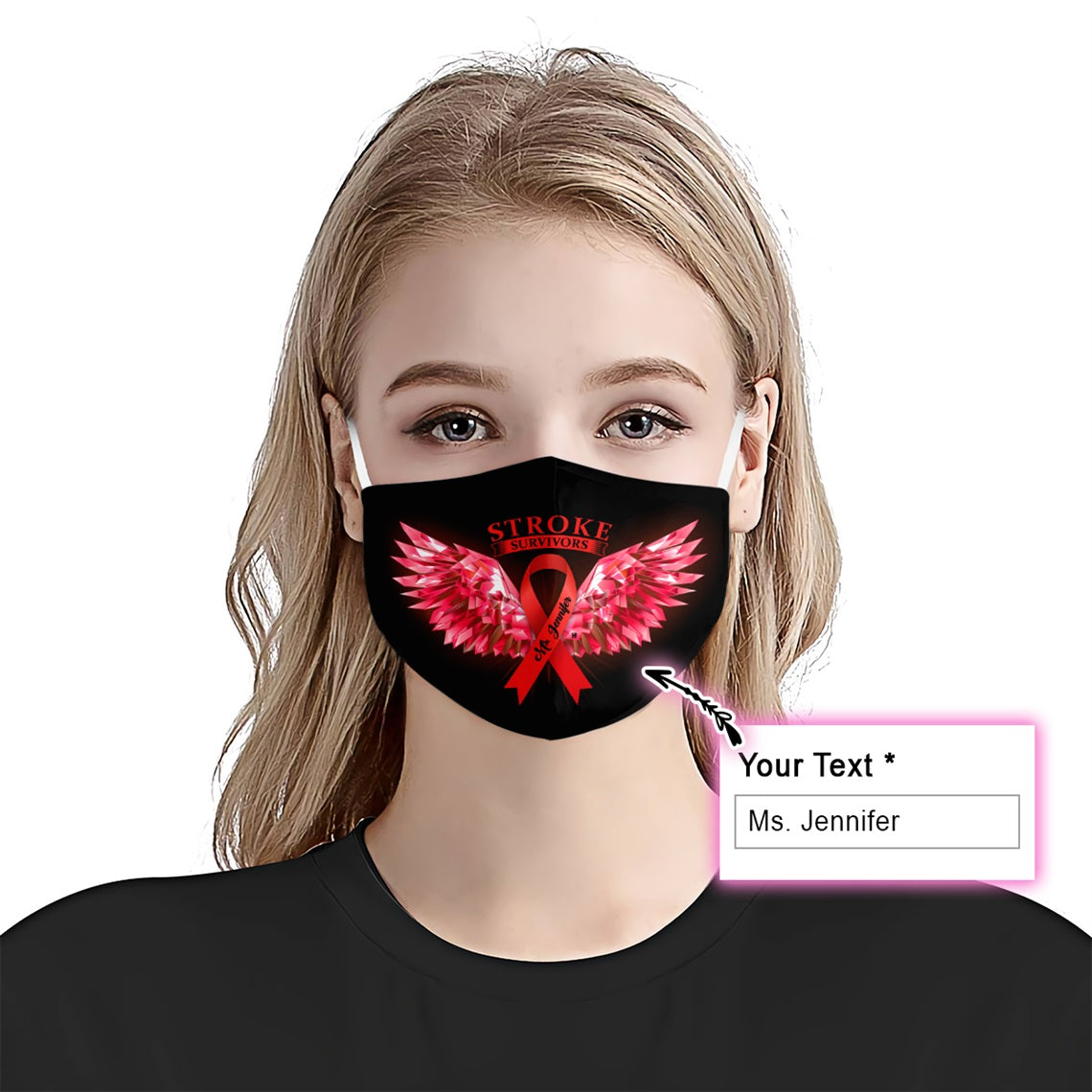 Stroke Awareness Wings EZ10 2005 Custom Face Mask - Hyperfavor