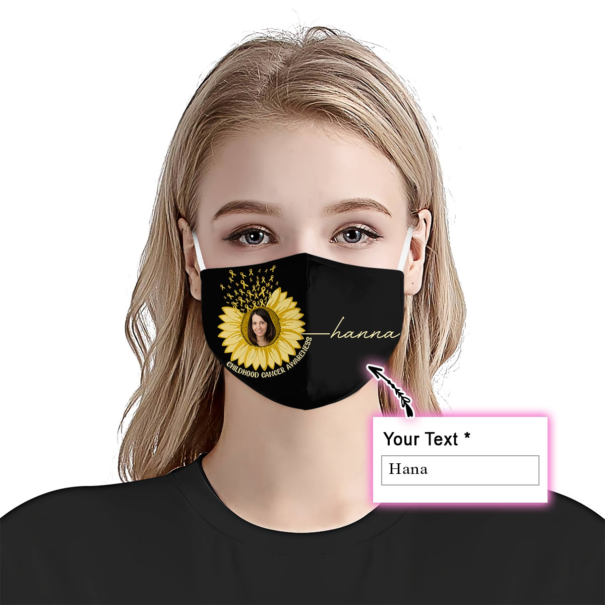 Premium Sunflower Childhood Cancer Awareness EZ09 2105 Custom Face Mask - Hyperfavor