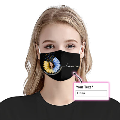 Premium Sunflower Down Syndrome Awareness EZ09 2105 Custom Face Mask - Hyperfavor