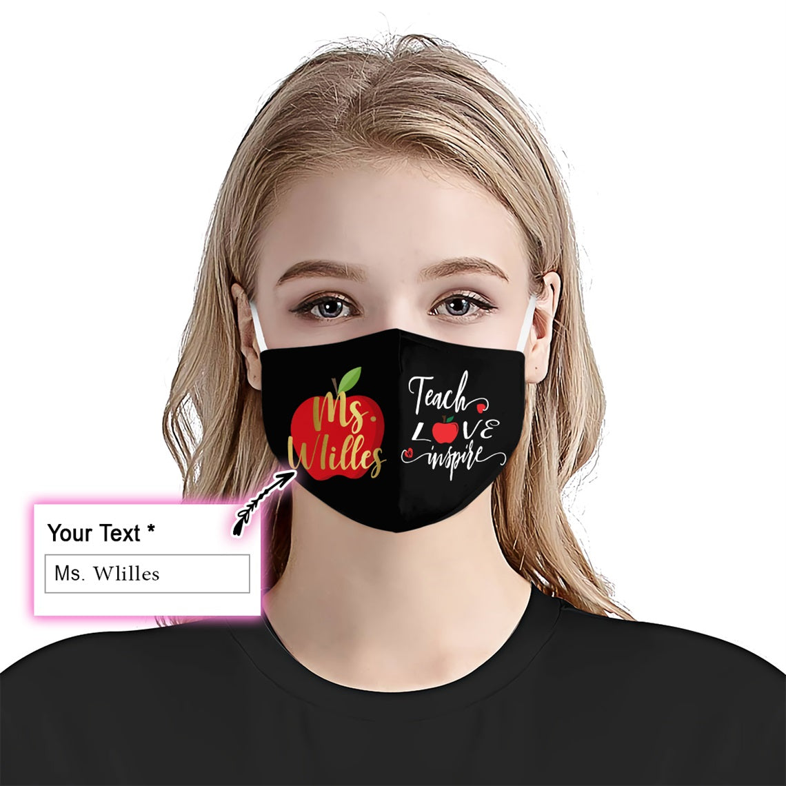 Teacher love inspire Name EZ16 0506 Custom Face Mask - Hyperfavor