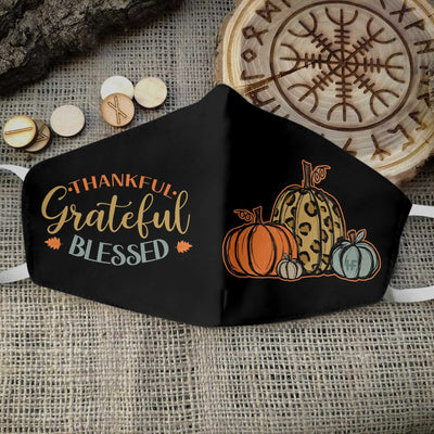 Thanksgiving Thankful Grateful Blessed EZ05 1010 Face Mask - Hyperfavor