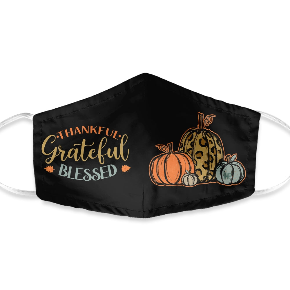 Thanksgiving Thankful Grateful Blessed EZ05 1010 Face Mask