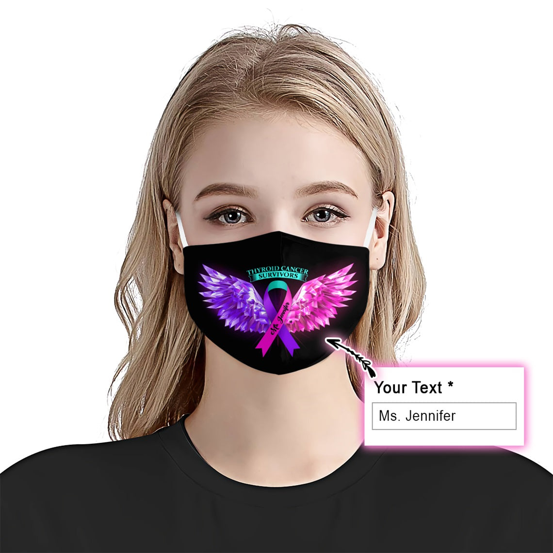 Thyroid Cancer Awareness Wings EZ10 2005 Custom Face Mask - Hyperfavor