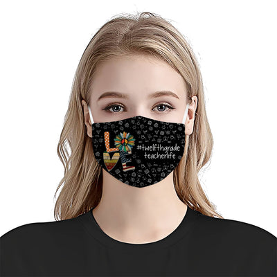 Twelfthgrade Teacher Life Love Pattern EZ06 1405 Face Mask - Hyperfavor