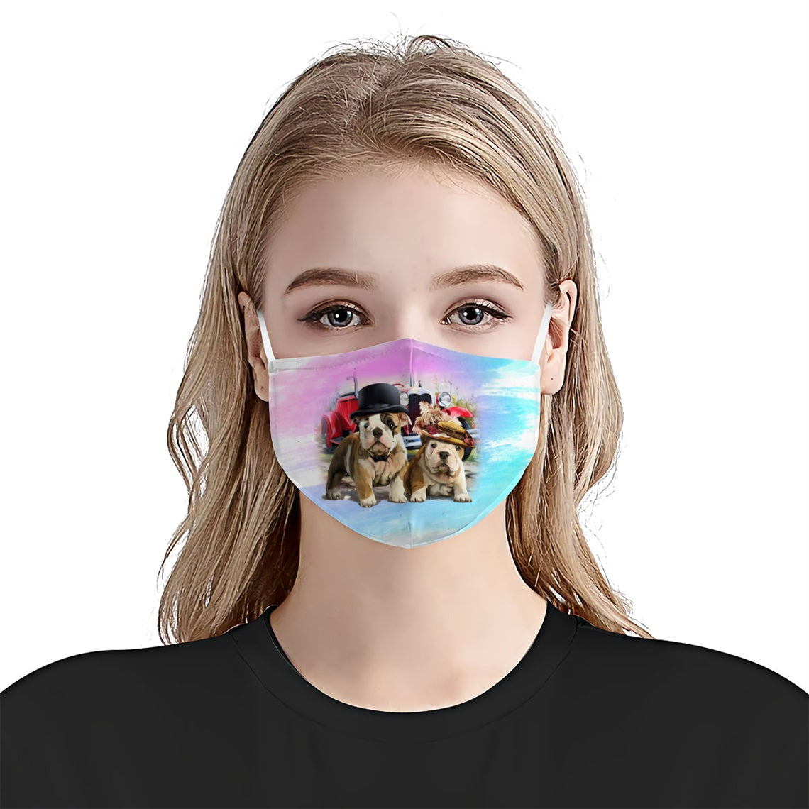 Two Cute BullDog Wear Hat EZ17 3005 Face Mask - Hyperfavor