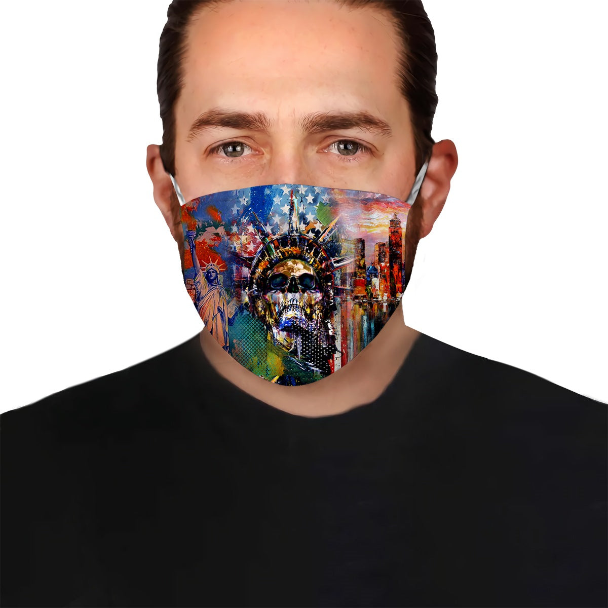 USA Flag Liberty Lady Skull EZ02 0505 Face Mask - Hyperfavor
