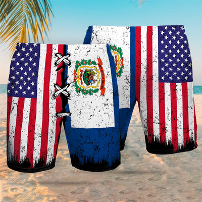 West Virginia x American Flag EZ12 2707 Beach Short - Hyperfavor
