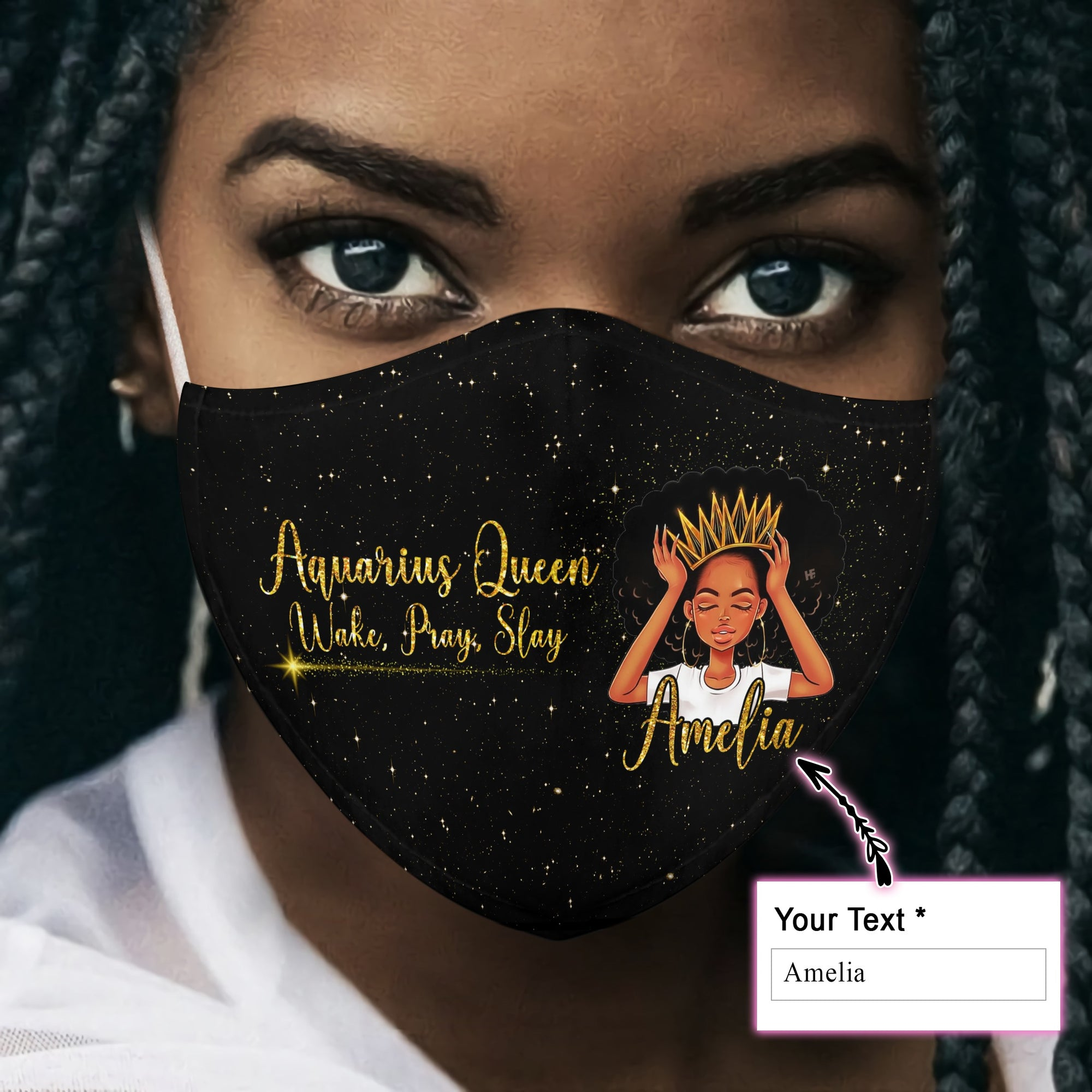 Aquarius Queen Wake, Pray, Slay EZ16 1206 Custom Face Mask back - Hyperfavor