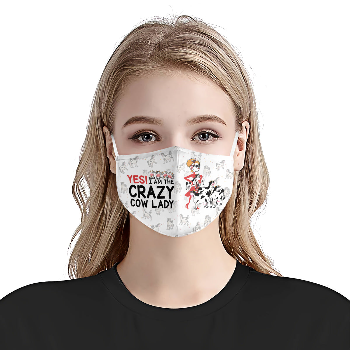 Yes I am The Crazy Cow Lady White EZ16 0907 Face Mask - Hyperfavor