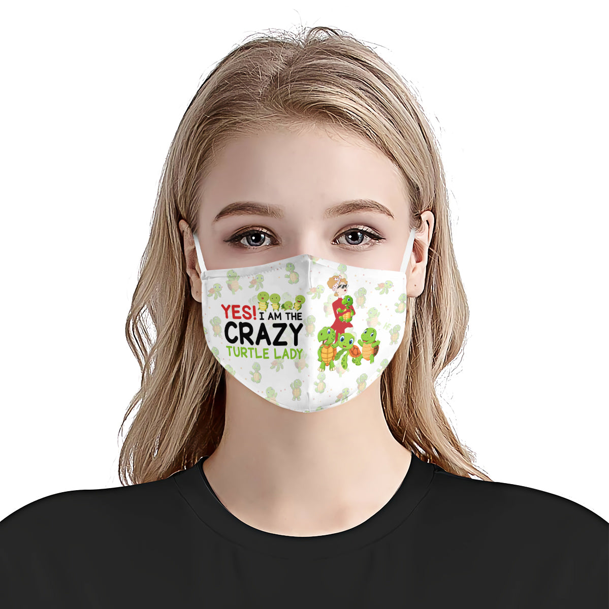 Yes I am The Crazy Turtle Lady White EZ16 0907 Face Mask - Hyperfavor