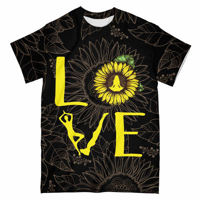 Yoga Love Sunflower Black Pattern EZ07 2703 All Over T-Shirt - Hyperfavor