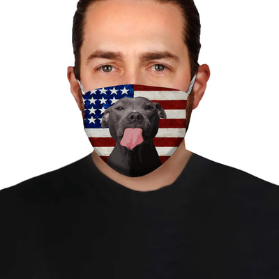 Blue Nose Pitbull With American Flag EZ01 Face Mask - Hyperfavor