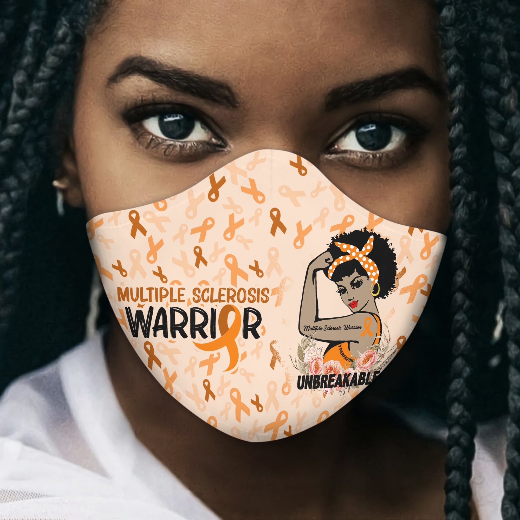 African Americans Multiple Sclerosis Awareness Unbreakable EZ01 Face Mask - Hyperfavor