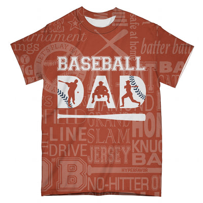 Dad Baseball Typography Orange EZ07 2703 All Over T-Shirt - Hyperfavor