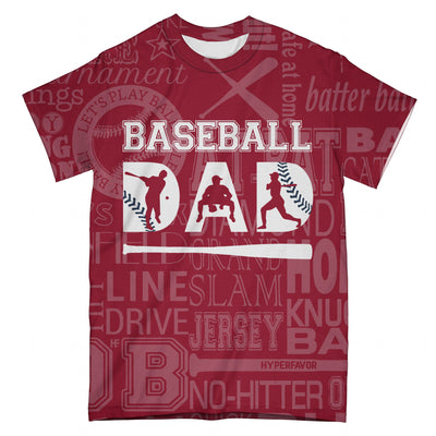 Dad Baseball Typography Scared Red EZ07 2703 All Over T-Shirt - Hyperfavor