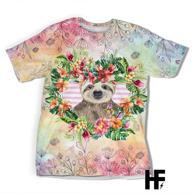 Just A Girl Who Loves Sloth Tropical EZ05 1603 All Over T-shirt - Hyperfavor