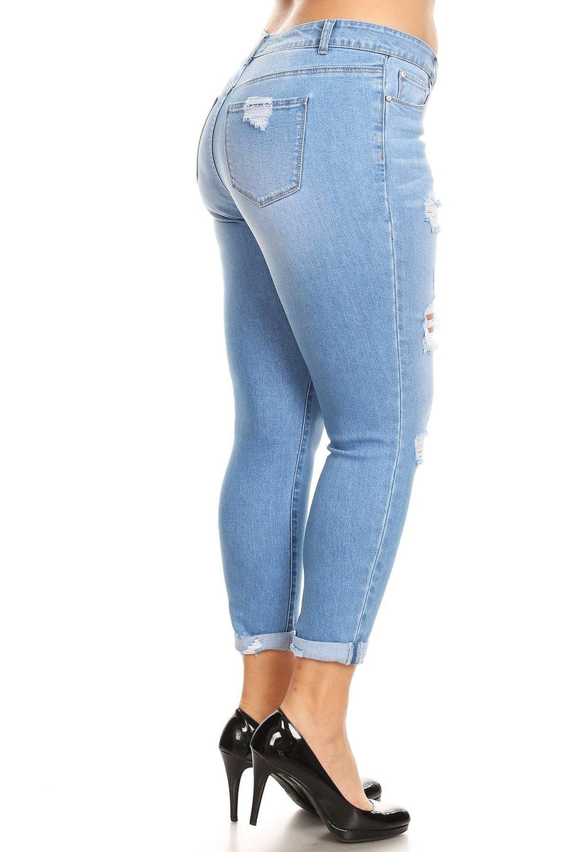 Destroyed Mid Rise Rolled Skinny - Shop ENJEAN
