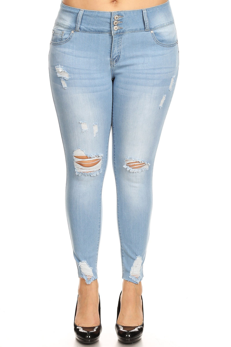 Mid Rise Push-Up Skinny Jeans