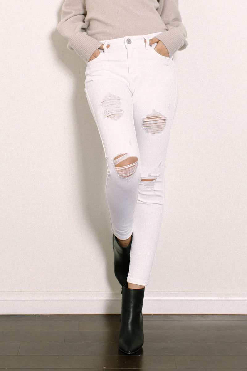 High Rise White Denim Skinny Jeans