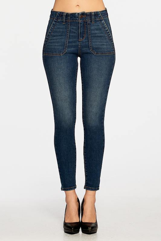 High-rise 5-pocket ankle skinny