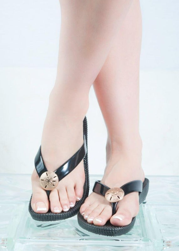 Black Wedge Sand Dollar Sandals - Size 10 & 11 - FrouFrou Couture