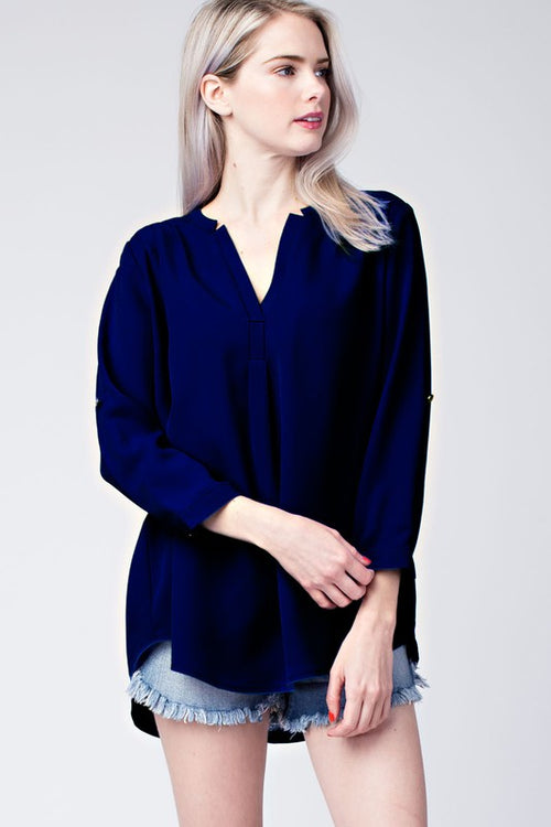 3/4 SLEEVE WOVEN BLOUSE - FrouFrou Couture