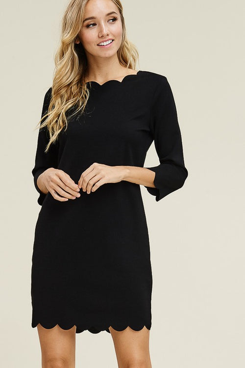 Solid Black Scallop Dress with 3/4 sleeve's