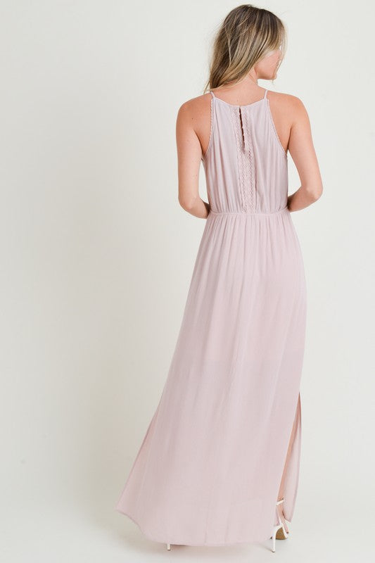 Lace Trimmed Maxi Dress with Back Keyhole - FrouFrou Couture