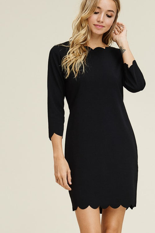 Solid Black Scallop Dress