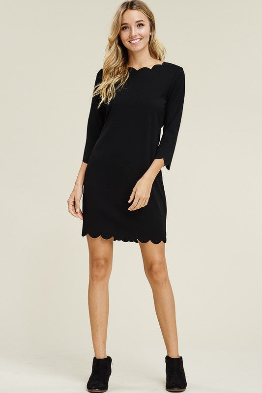 Solid Black Scallop Dress - FrouFrou Couture