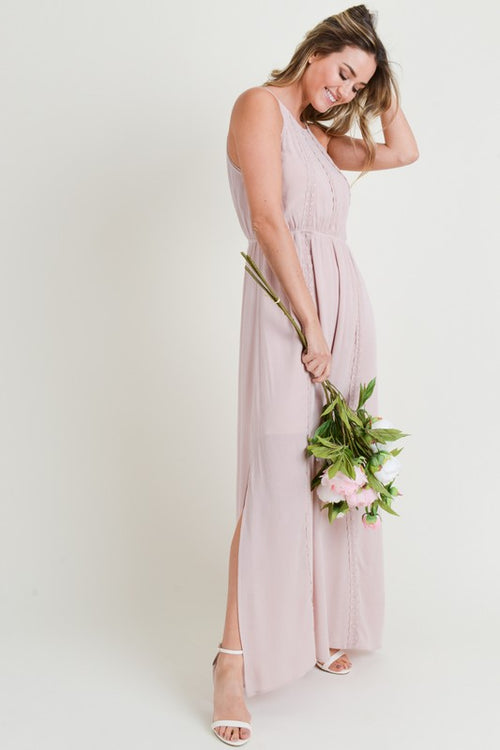 Lace Trimmed Maxi Dress with Back Keyhole