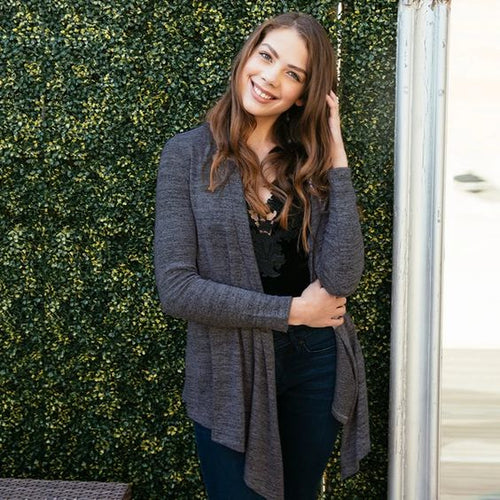 Carefree Threads Fly Away Cardigan by Hello Mello in black heather knit fabric