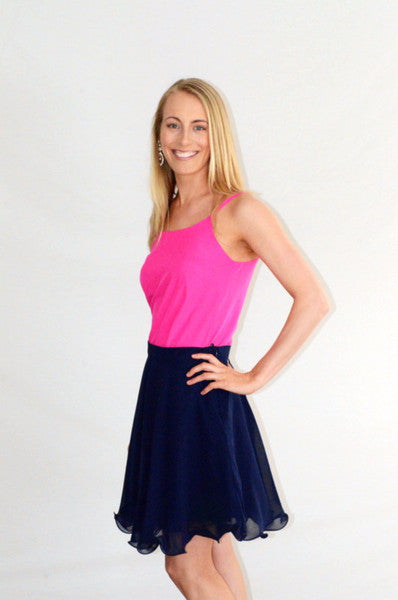 Navy Lined Skater Skirt