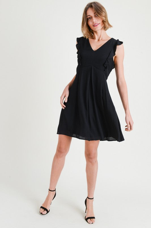 Black Flutter Dress with Lace Zip Up Back