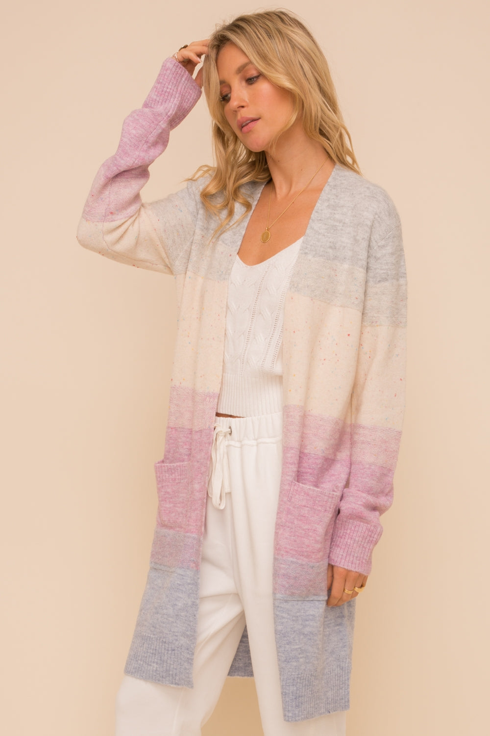 Multi-Color Fluffy Cardigan with Pockets - FrouFrou Couture