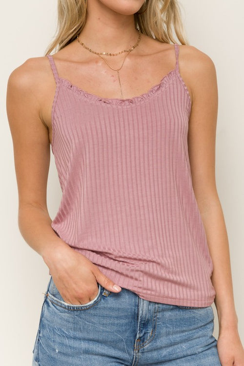 LILAC LETTUCE EDGE NECK RIBBED KNIT TANK TOP