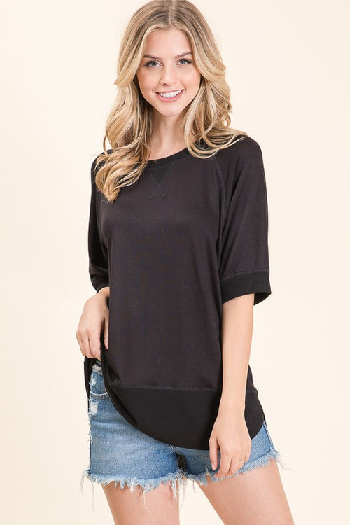 Black Short Sleeve Pullover Top