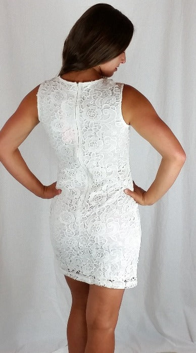 Lovely Lace Bodycon Dress- Ivory - FrouFrou Couture