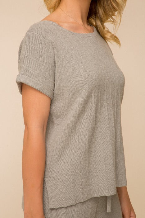 Textured Short Sleeve Sweater Top - FrouFrou Couture