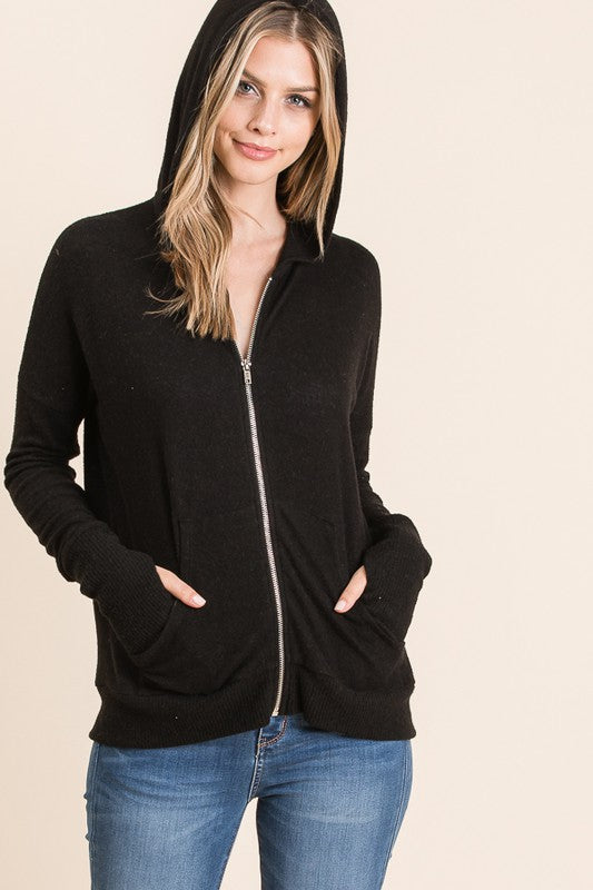 Thumb Hole Hoodie Jacket - FrouFrou Couture