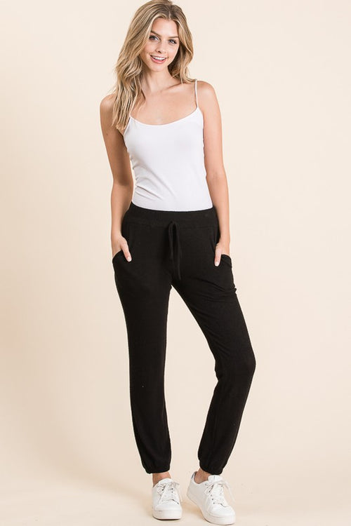 Black Tiger Brush jogger with drawstring waist tie & pockets