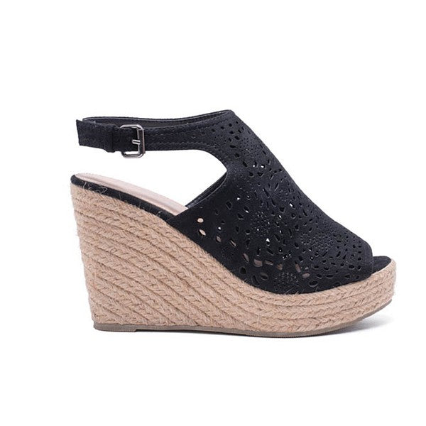 Black espadrille platform peep toe wedge sandals with laser-cut outs.  ATLANTA